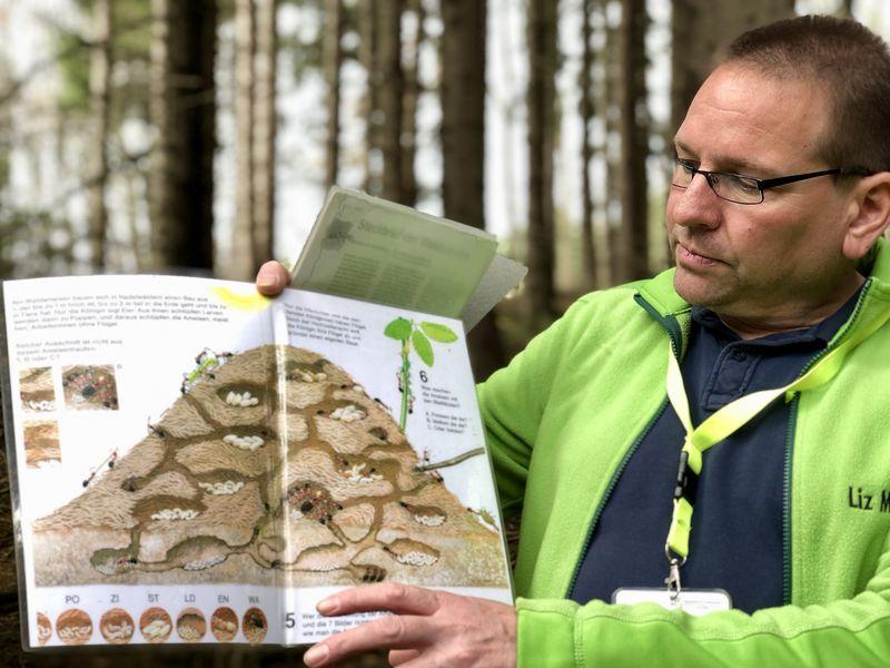Wie ist ein Ameisenhaufen aufgebaut? Tobias Babusch hat Anschauungsmaterial dabei.