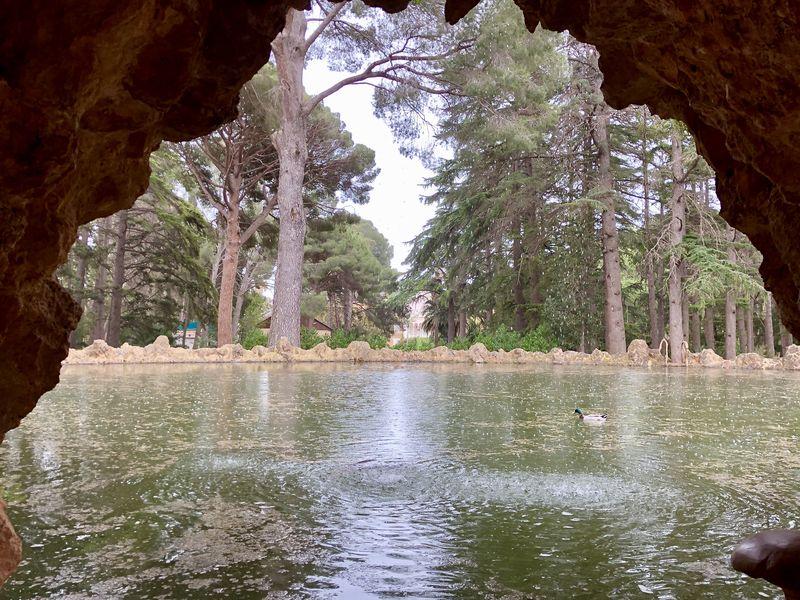 Die Grotte im künstlichen Teich ist so angelegt, dass sich der Blick hin zum Palast öffnet.