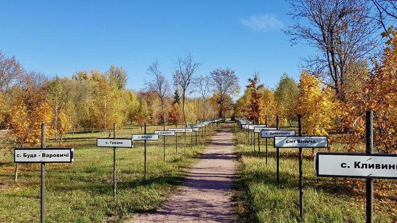 Im Umkreis des Reaktors von Tschernobyl wurden 98 Dörfer ausgelöscht. Eine Schilderallee erinnert daran.